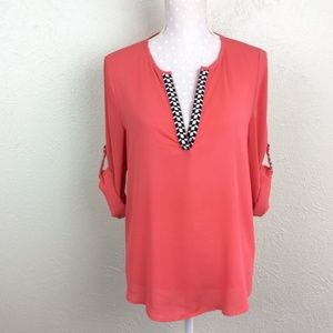 41 Hawthorn Coral Tab Sleeve Popover Blouse Sz M